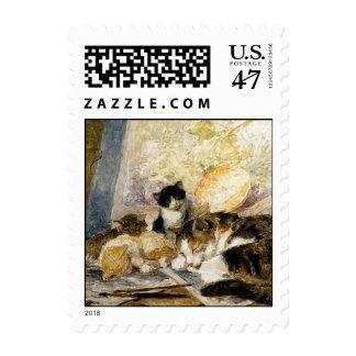 Cat & Kittens Asleep in the Artist's Studio Postage