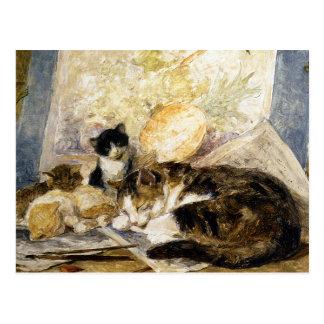 Cat & Kittens Asleep in the Artist's Studio Postcard