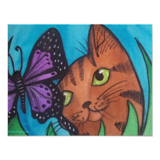 Cat Kitty and Butterfly Card
