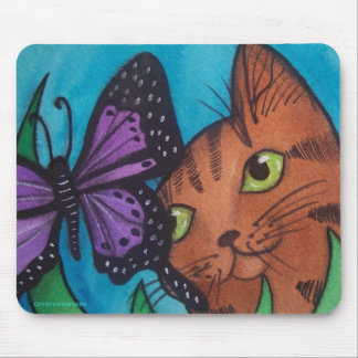 Cat Kitty and Butterfly Mouse Pad