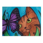 Cat Kitty and Butterfly Post Card