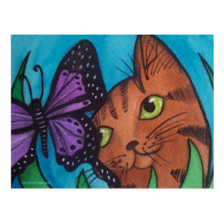 Cat Kitty and Butterfly Postcard