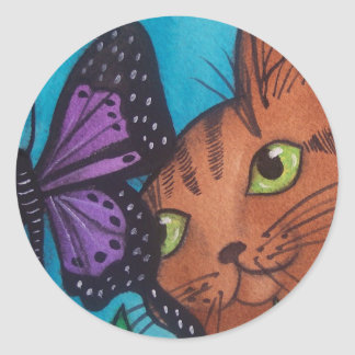 Cat Kitty and Butterfly Classic Round Sticker