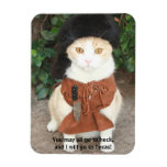 Cat/Kitty in Buckskin with Davy Crockett Quote Flexible Magnet