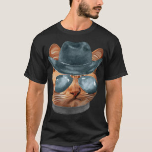 2a40813b Cat Kitty Kitten In Clothes Aviators Cowboy Hat T-Shirt