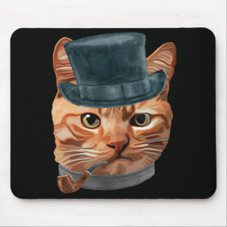 Cat Kitty Kitten In Clothes Pipe Top Hat Mouse Pad