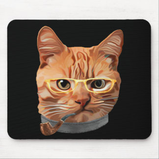 Cat Kitty Kitten In Clothes Yellow Glasses Pipe Mouse Pad