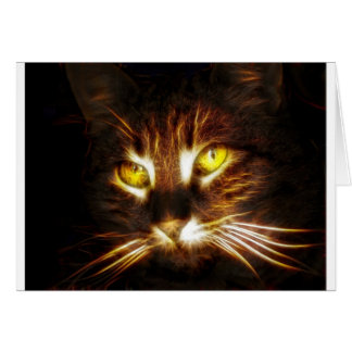Cat, kitty, kitten with glowing eyes card