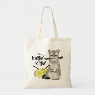 Cat Knitting bag cotton tote with handles yellow