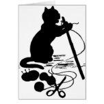 Cat Knitting Silhouette Black/White Greeting Card