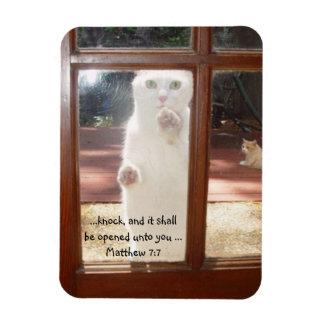 Cat Knocking on Back Door Bible Verse Magnet