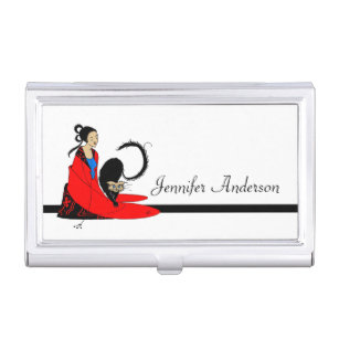 Vintage cat illustration business card holders cases zazzle cat lady by beardsley to personalize business card holder colourmoves Choice Image
