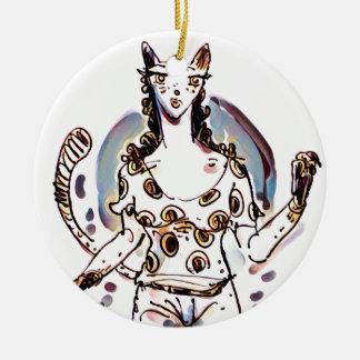 cat lady ceramic ornament