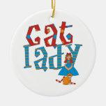 Cat Lady Christmas Tree Ornaments