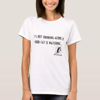 Cat Lady Drinking T-Shirt