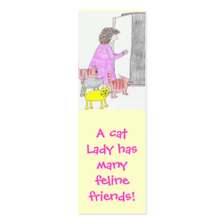 cat lady friends bookmark business cards