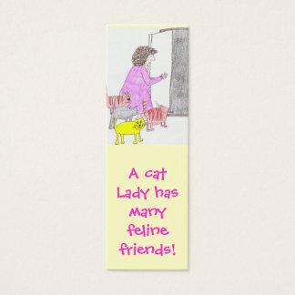 cat lady friends bookmark mini business card