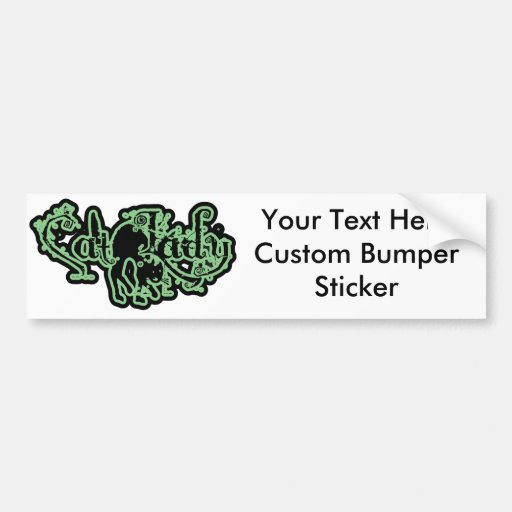 Cat Lady Green Bumper Stickers