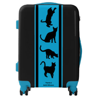 Cat Lady Personalized Blue Black Luggage