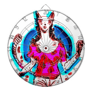 cat lady pop art dartboard