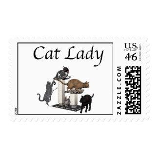 Cat Lady Postage Stamp