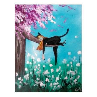 cat lady postcard