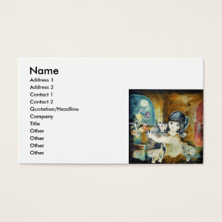 Cat Lady Silk Art Painting Business Card