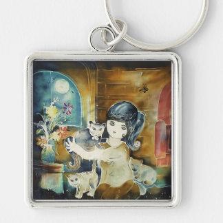 Cat Lady Silk Art Painting Keychain