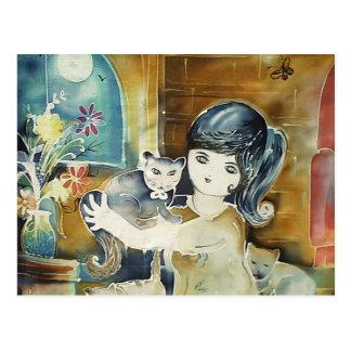 Cat Lady Silk Art Painting Postcard