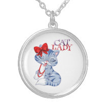 Cat Lady Silver Plated Necklace