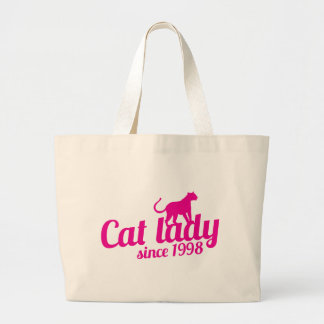 cat lady since 1998 large tote bag