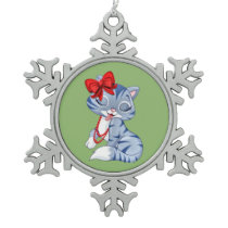 Cat Lady Snowflake Pewter Christmas Ornament