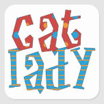 Cat Lady Square Sticker