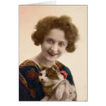 Cat Lady - Vintage French Photo Greeting Card