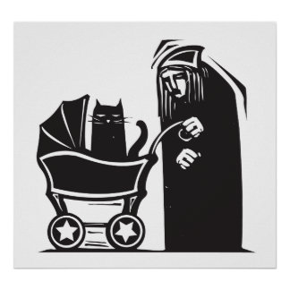 Cat Lady with Baby Carriage Poster