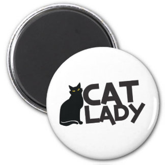 cat lady with slinky black cat yellow eyes 2 inch round magnet