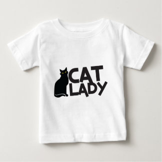 cat lady with slinky black cat yellow eyes baby T-Shirt