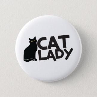 cat lady with slinky black cat yellow eyes button