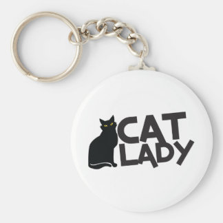 cat lady with slinky black cat yellow eyes key chains