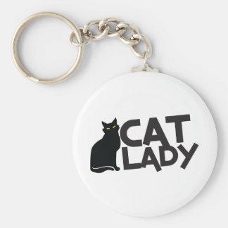 cat lady with slinky black cat yellow eyes keychain