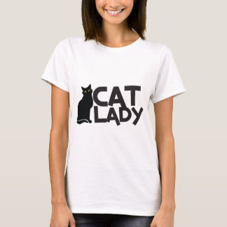 cat lady with slinky black cat yellow eyes T-Shirt