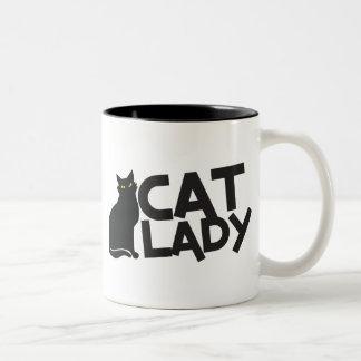 cat lady with slinky black cat yellow eyes Two-Tone coffee mug