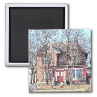 Cat Lady's House 2 Inch Square Magnet
