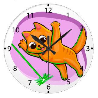 Cat laser game large clock