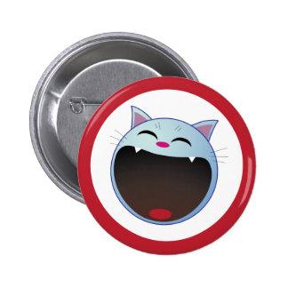 cat laughing pinback button