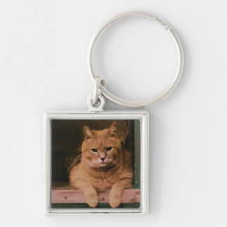 Cat Leans on Windowsill Silver-Colored Square Keychain