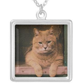 Cat Leans on Windowsill Square Pendant Necklace