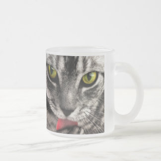 Cat Lick Frosted Glass Coffee Mug