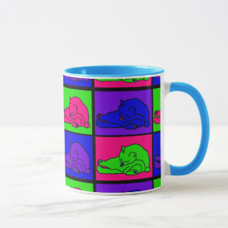 CAT LICKING BUTT POP ART MUG