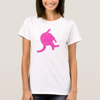 Cat Licking Butt T-shirt (pink silhouette)